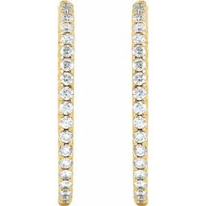 18K Yellow 5 1/ CTW Diamond Inside-Outside Hinged 40 mm Hoop Earrings