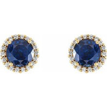 Load image into Gallery viewer, 14K Yellow Blue Sapphire & 1/5 CTW Diamond Earrings