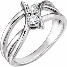 Load image into Gallery viewer, 14K White 1 CTW Diamond Two-Stone Ring