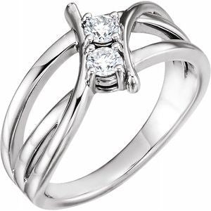 14K White 1 CTW Diamond Two-Stone Ring