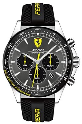 Ferrari Men's Pilota Stainless Steel Quartz Watch with Silicone Strap, Black, 22 (Model: 0830594)