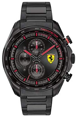 Ferrari Men's SPEEDRACER Quartz Watch with Stainless Steel Strap, Black, 22 Model: 0830654