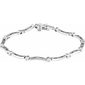 14K White .50 CTW Diamond Line Bracelet