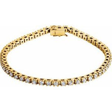 "Load image into Gallery viewer, 14K Yellow 3 1/2 CTW Diamond Line 7 1/4"" Bracelet"