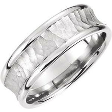 Load image into Gallery viewer, Palladium 7.5 mm Concave Band with Hammer Finish Size 11