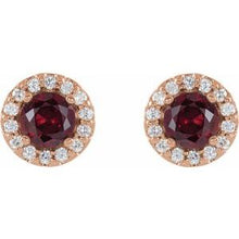 Load image into Gallery viewer, 14K Rose Ruby & 1/4 CTW Diamond Earrings