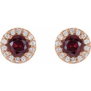 14K Rose Ruby & 1/4 CTW Diamond Earrings