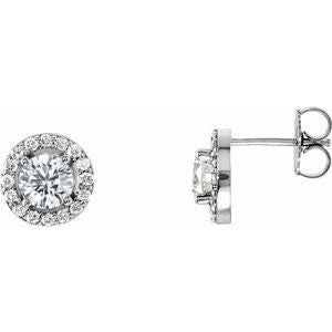 14K White 1 3/8 CTW Diamond Halo-Style Earrings