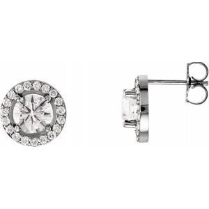 14K White 1 9/10 CTW Diamond Halo-Style Earrings