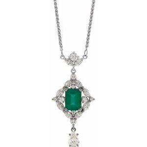 "Sterling Silver Emerald & 1 1/4 CTW Diamond 18"" Necklace"