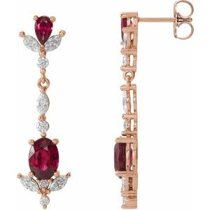 14K Rose Ruby & 3/4 CTW Diamond Dangle Earrings