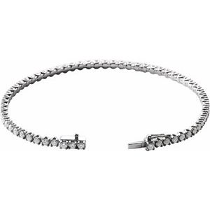 "14K White 3 CTW Diamond Line 7"" Bracelet"