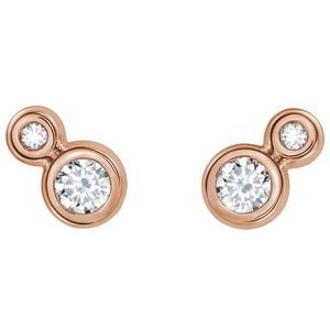 Two-Stone Bezel-Set Earrings