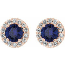 Load image into Gallery viewer, 14K Rose Blue Sapphire & 1/4 CTW Diamond Earrings