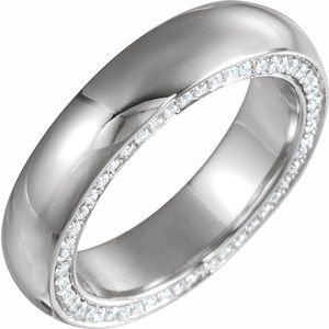 Platinum 5 mm 7/8 CTW Diamond Band Size 11.5