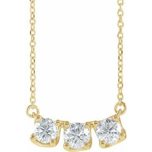"14K Yellow 1 CTW Diamond Three-Stone Curved Bar 16"" Necklace"