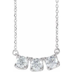 "Sterling Silver 1 CTW Diamond Three-Stone Curved Bar 16"" Necklace"