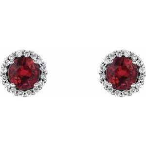 Platinum Ruby & 1/6 CTW Diamond Earrings