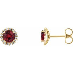 14K Yellow Ruby & 1/6 CTW Diamond Earrings