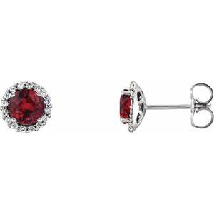 Sterling Silver Ruby & 1/6 CTW Diamond Earrings