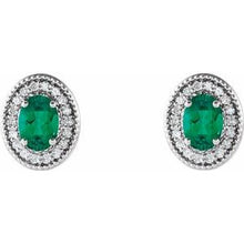 Load image into Gallery viewer, Sterling Silver Emerald & 1/5 CTW Diamond Halo-Style Earrings