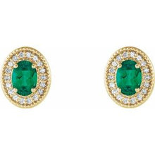 Load image into Gallery viewer, 14K Yellow Emerald & 1/5 CTW Diamond Halo-Style Earrings