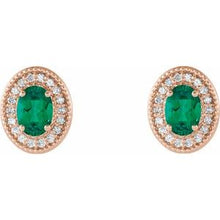 Load image into Gallery viewer, 14K Rose Emerald & 1/5 CTW Diamond Halo-Style Earrings