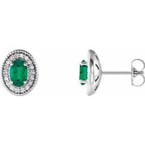 Sterling Silver Emerald & 1/5 CTW Diamond Halo-Style Earrings