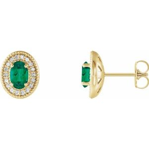 14K Yellow Emerald & 1/5 CTW Diamond Halo-Style Earrings
