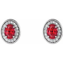 Load image into Gallery viewer, Sterling Silver Ruby & 1/5 CTW Diamond Halo-Style Earrings