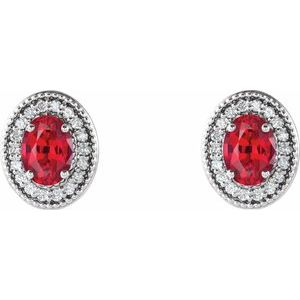 Sterling Silver Ruby & 1/5 CTW Diamond Halo-Style Earrings