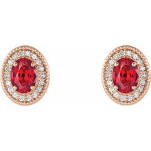 Load image into Gallery viewer, 14K Rose Ruby & 1/5 CTW Diamond Halo-Style Earrings