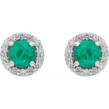 Load image into Gallery viewer, Platinum Emerald & 1/4 CTW Diamond Earrings