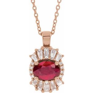 "14K Rose Ruby & 1/3 CTW Diamond 16-18"" Necklace"
