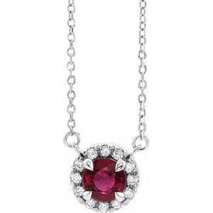 "Platinum Ruby & 1/10 CTW Diamond 18"" Necklace"