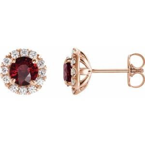 14K Rose Ruby & 1/3 CTW Diamond Earrings