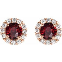 Load image into Gallery viewer, 14K Rose Ruby & 1/3 CTW Diamond Earrings