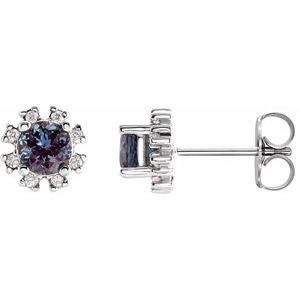 Platinum Chatham® Created Alexandrite & 1/2 CTW Diamond Earrings