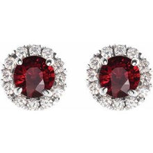 Load image into Gallery viewer, 14K White Ruby & 1/3 CTW Diamond Earrings