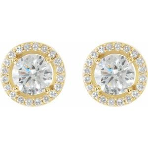 Round Halo-Style Earrings