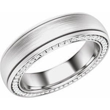 Load image into Gallery viewer, Platinum 6 mm 5/8 CTW Diamond Grooved Band with Satin Finish Size 10