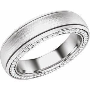 Platinum 6 mm 5/8 CTW Diamond Grooved Band with Satin Finish Size 10