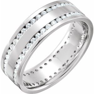 Platinum 1 CTW Diamond Flat Band Size 7.5