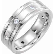 Load image into Gallery viewer, Platinum 1/2 CTW Diamond Double Grooved Band Size 13