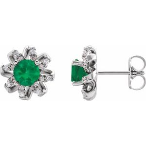 Sterling Silver Emerald & 1/8 CTW Diamond Halo-Style Earrings