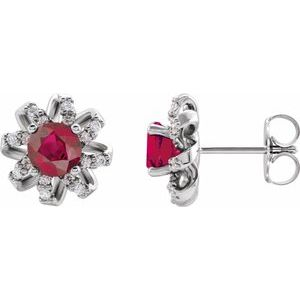 Sterling Silver Ruby & 1/8 CTW Diamond Halo-Style Earrings