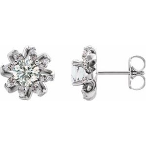 Platinum 1 CTW Diamond Halo-Style Earrings