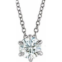 "Load image into Gallery viewer, 14K White 1 CT Lab-Grown Diamond Solitaire 16-18"" Necklace"