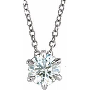 "14K White 1 CT Lab-Grown Diamond Solitaire 16-18"" Necklace"