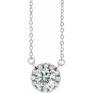 "14K White 1 1/6 CTW Diamond 16"" Necklace"